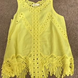 Tops - Eyelet Yellow Tank